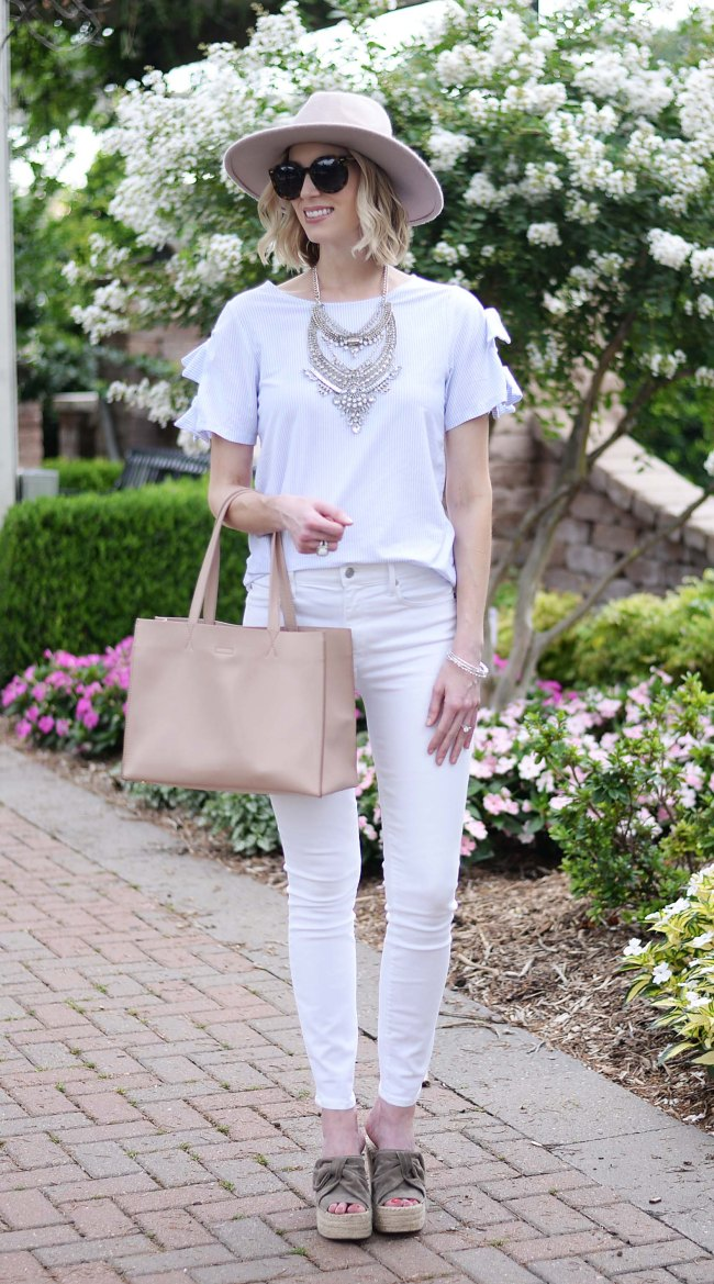 how to style a silver bib necklace, white jeans, espadrille wedges, tie tee shirt, casual outfit idea