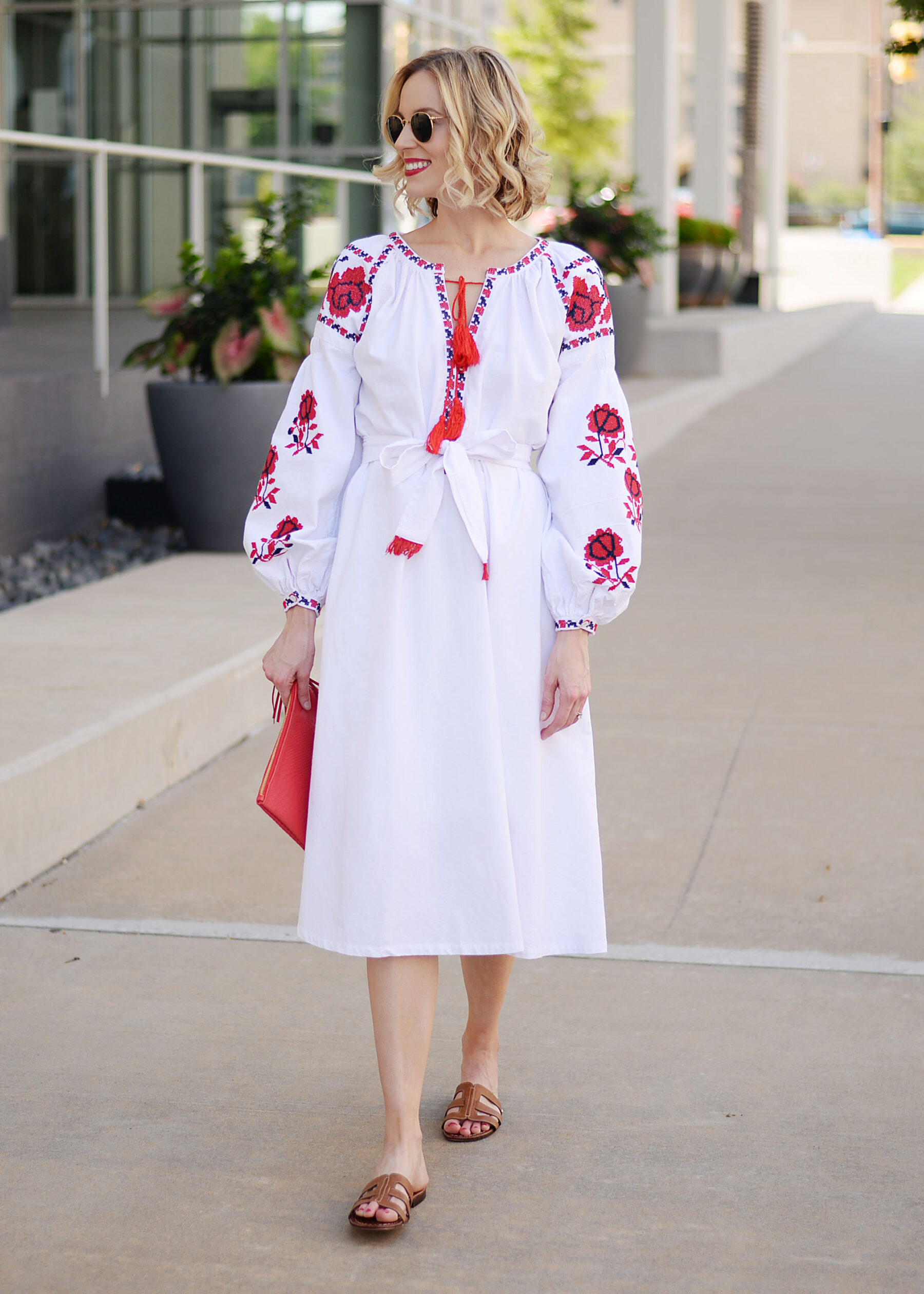 ... white and red embroidered midi dress with tassel tie closure ...