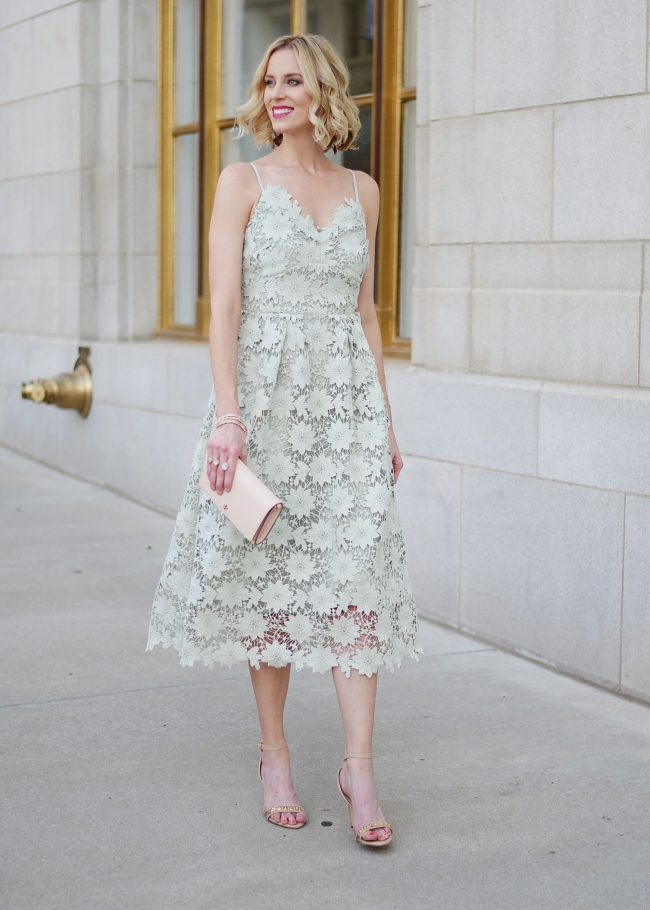 mint lace dress, pink clutch, nude heeled sandals