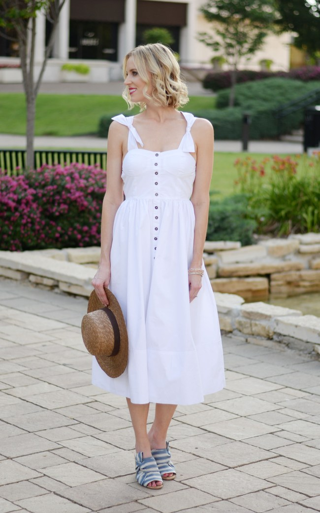 sleeveless white midi dress, cami dress, button front dress, tie straps, bow mules, straw hat