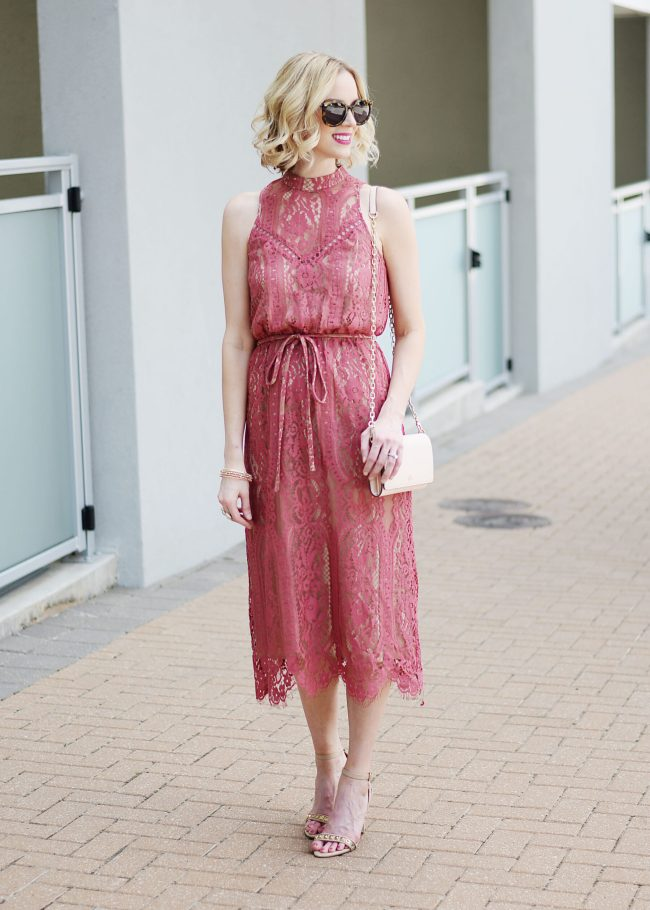 berry colored lace overlay midi dress with nude heels