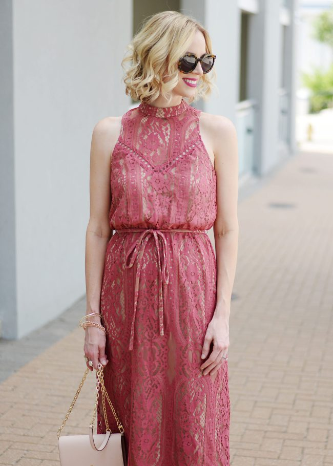 midi dress with lace overlay
