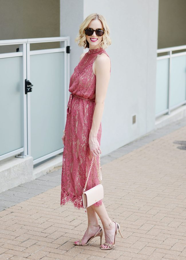 lace midi dress with gathered waist