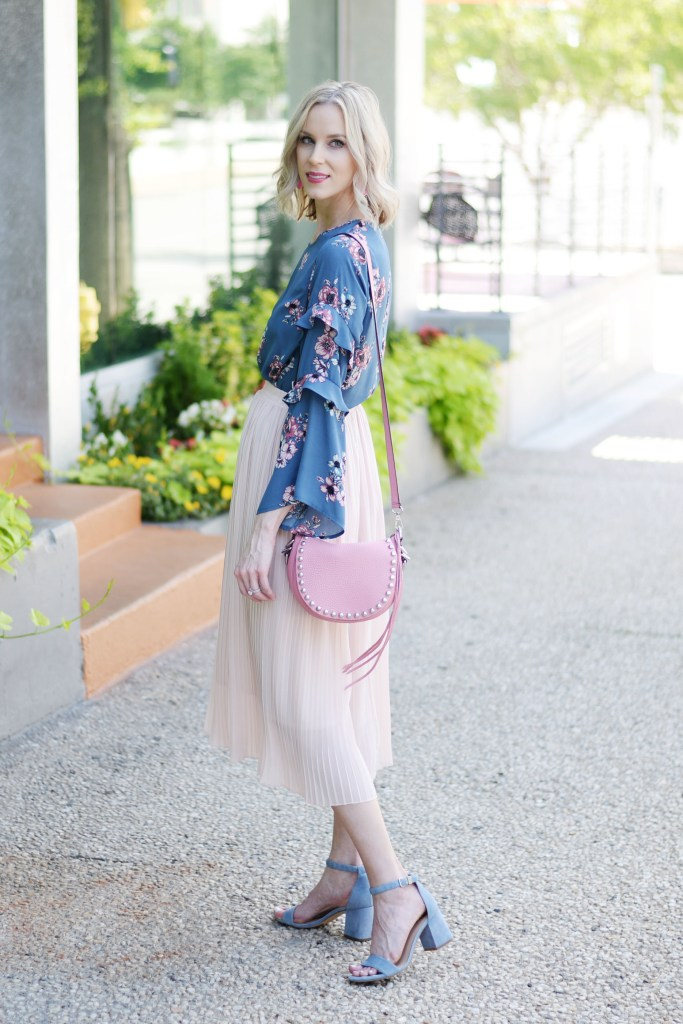 blush midi skirt with ruffle sleeve floral blouse, blue and pink, how to make the most out of your closet, how to wear a midi skirt