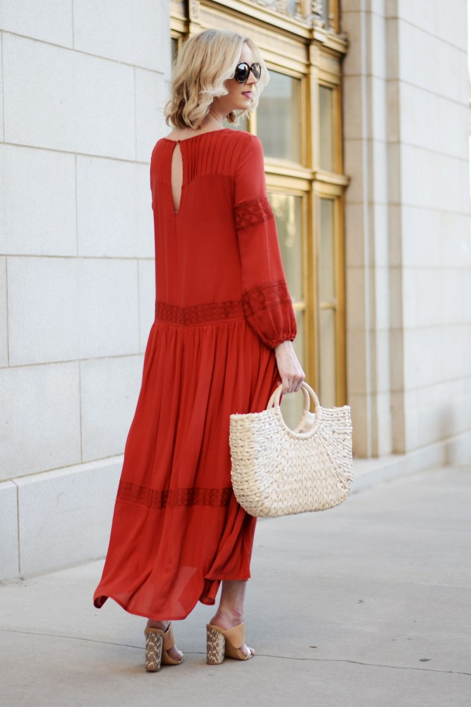 boho red maxi dress and straw bag