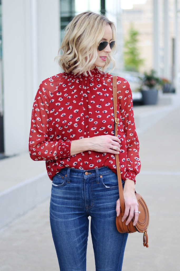 Finding Your Shade of Red, straight leg denim, deep red floral blouse, cognac accessories, madewell jeans, madewell fall 2017