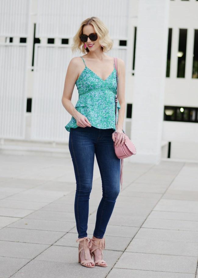 printed peplum cami, skinny jeans, heeled sandals