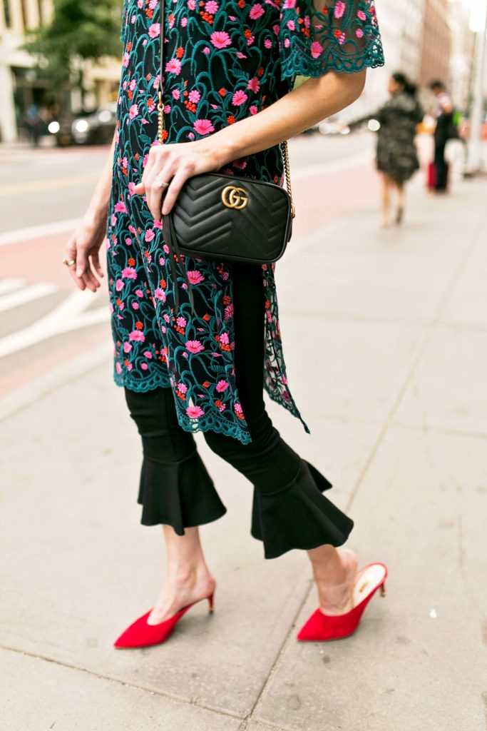 embroidered side slit tunic and crop flare pants with red mule heels, gucci marmont bag