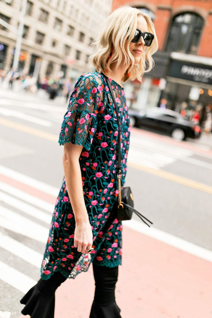 embroidered sheer floral side slit tunic and crop flare pants with gucci marmont bag, black sunglasses, new york street style