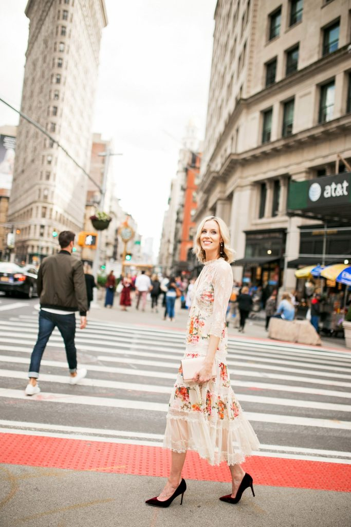 new york fashion week rewardstyle party outfit, floral and lace midi dress