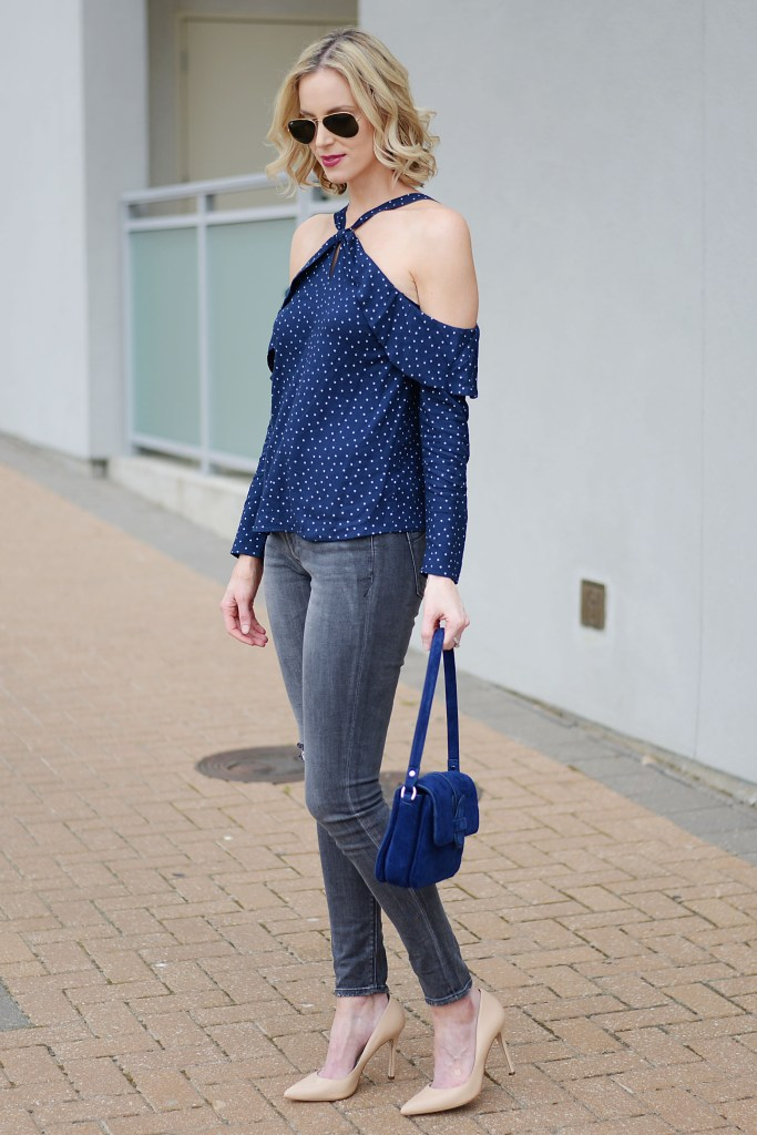 grey denim, going out top, cold shoulder, nude heels
