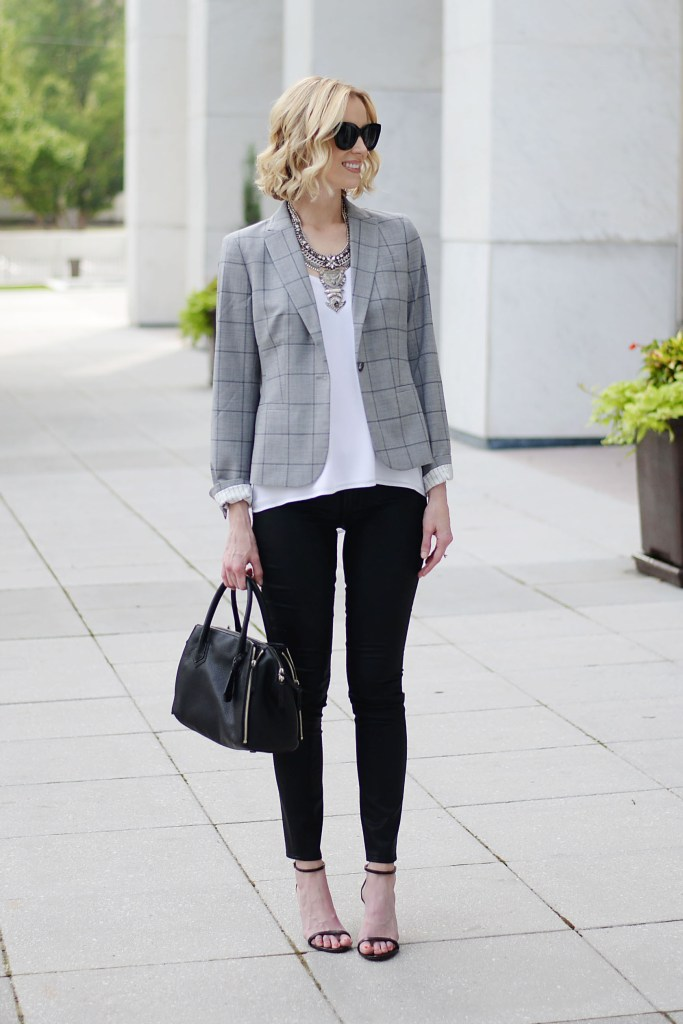 modern way to style a blazer, grey windowpane blazer, white cami, black coated skinny jeans, statement silver necklace, banana republic