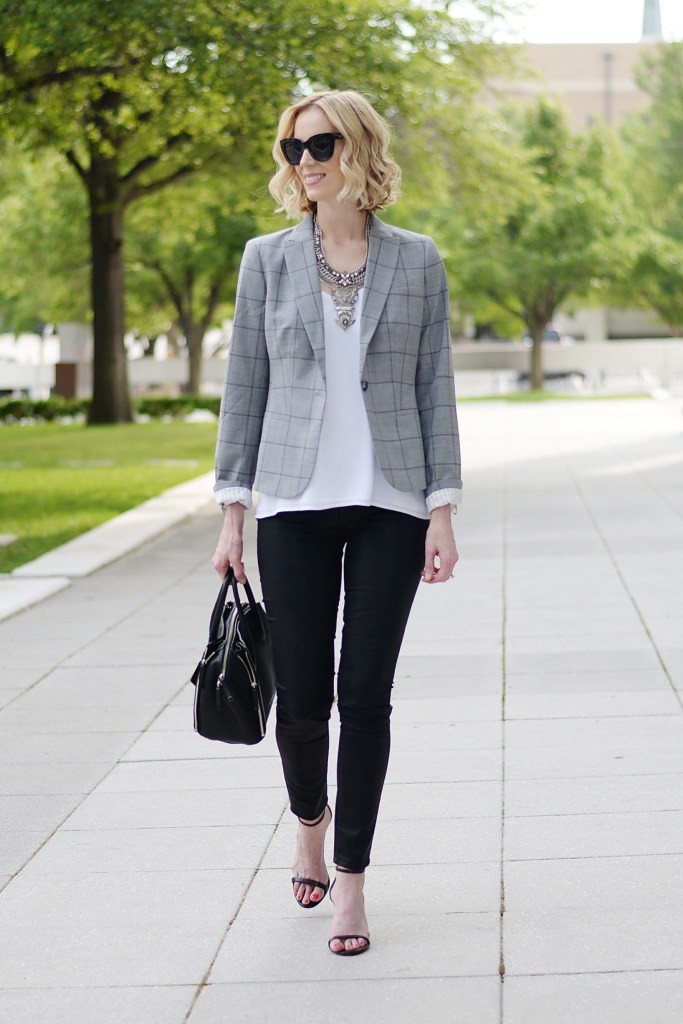 how to style a blazer, grey windowpane blazer, white camisole, black coated skinny jeans, silver bib necklace, black heeled sandals