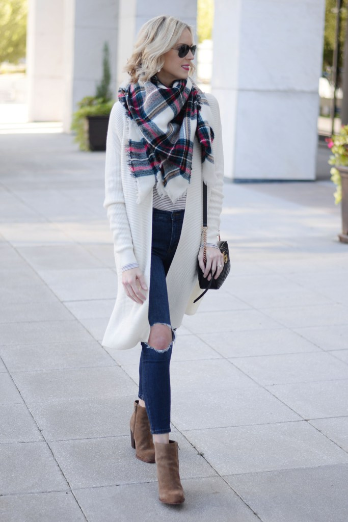 fall basics, cardigan, jeans, boots, scarf, and tee