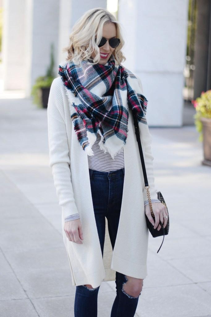 cardigan, t-shirt, and scarf, easy fall outfit idea