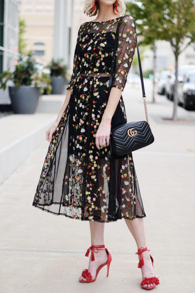 lucy paris floral midi dress, black floral midi dress