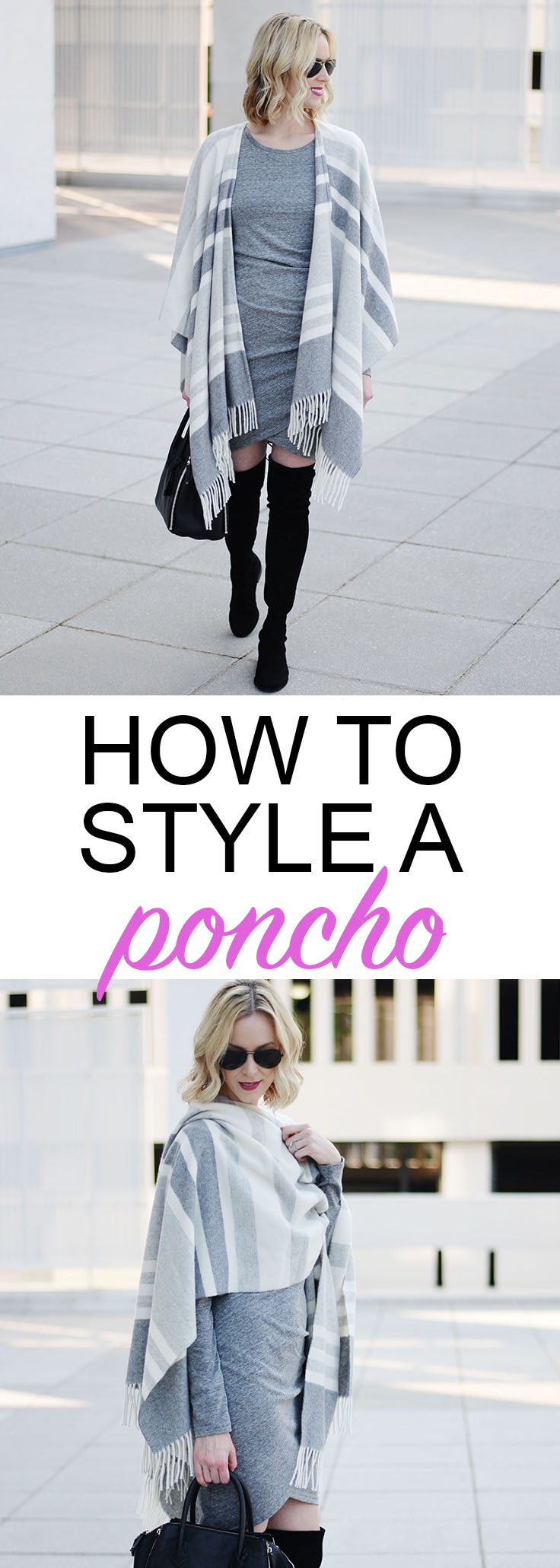 how to style a poncho with a dress