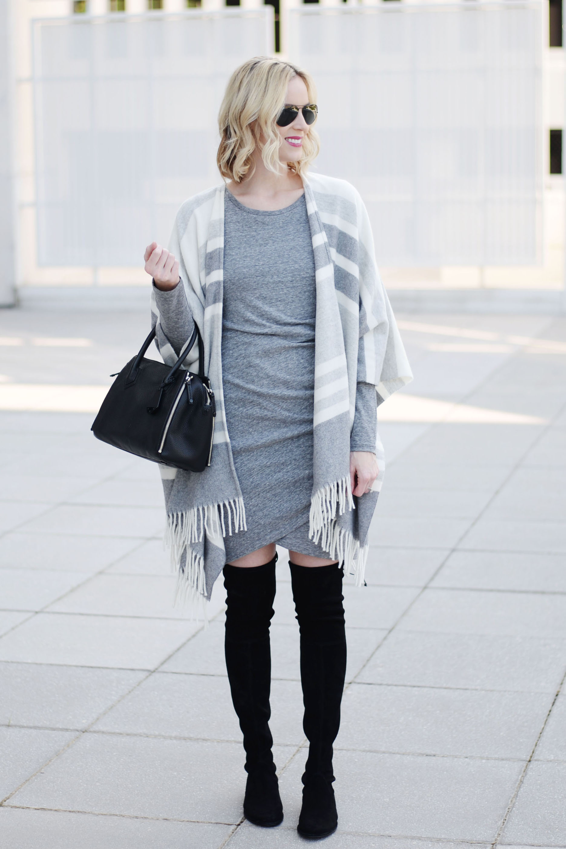 f33c0fd7a8bc2 How to Style a Poncho with a Dress - Straight A Style