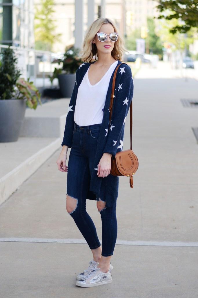 jeans, tee, cardigan, sneakers