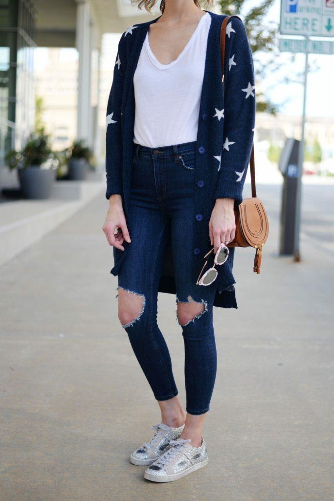 cute mirrored sunglasses, chloe mini marcie bag, jeans, cardigan, glitter sneakers