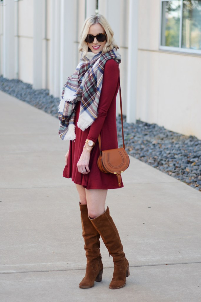 jersey swing dress with plaid scarf and OTK boots