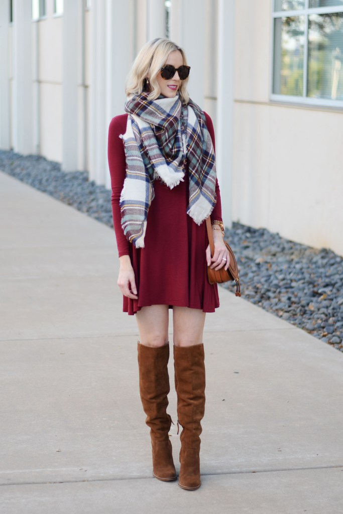 versatile and affordable swing dress styled with scarf and boots for fall