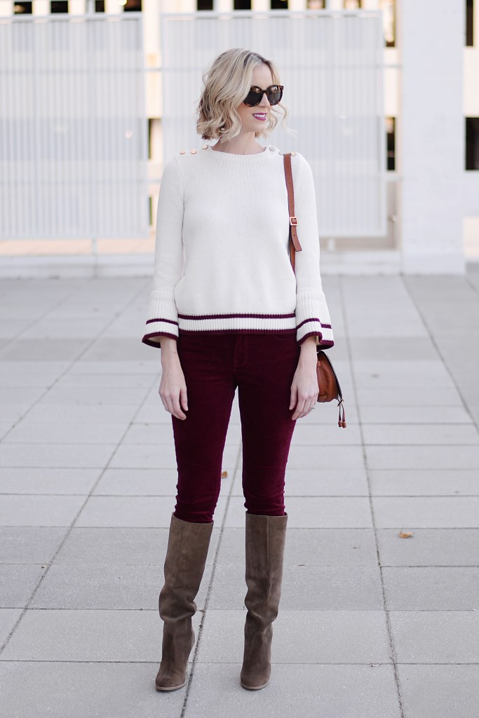 velvet pants with bell sleeve sweater and tall boots
