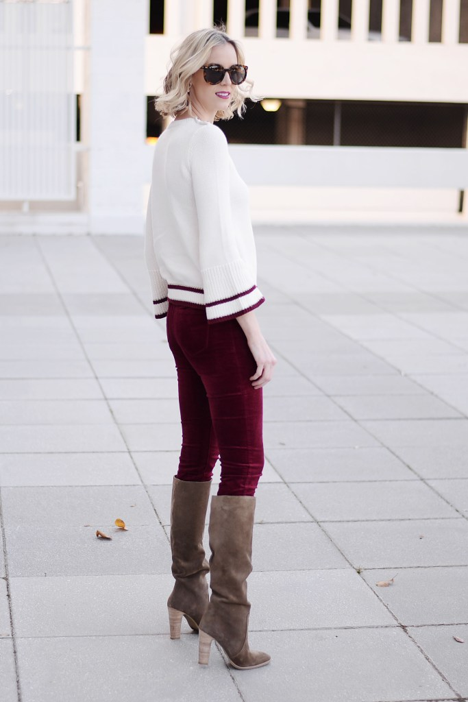 burgundy velvet pants, bell sleeve sweater