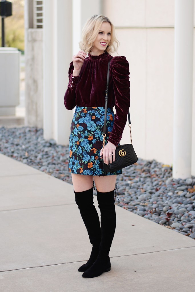 dressy holiday outfit idea with velvet