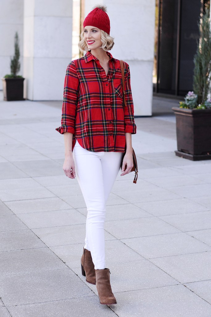Christmas plaid shirt with white jeans