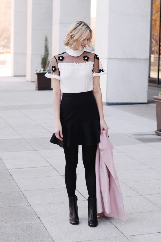 dressy black and white outfit, black trumpet skirt with tights, pink jacket