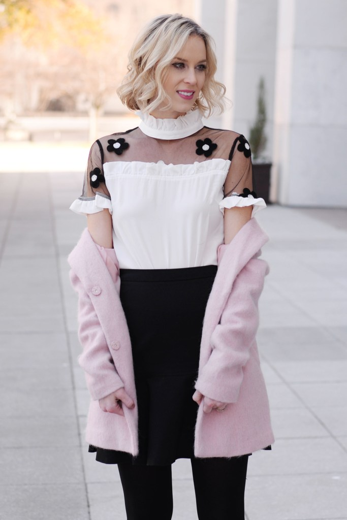 black, white, and pink outfit combo, black and white top with flowers