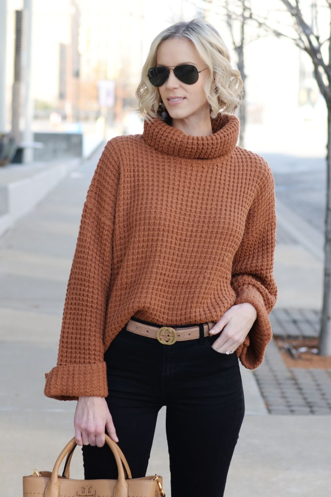 turtleneck sweater with jeans for an easy warm outfit