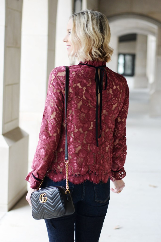 velvet tie back lace blouse with gucci marmont bag