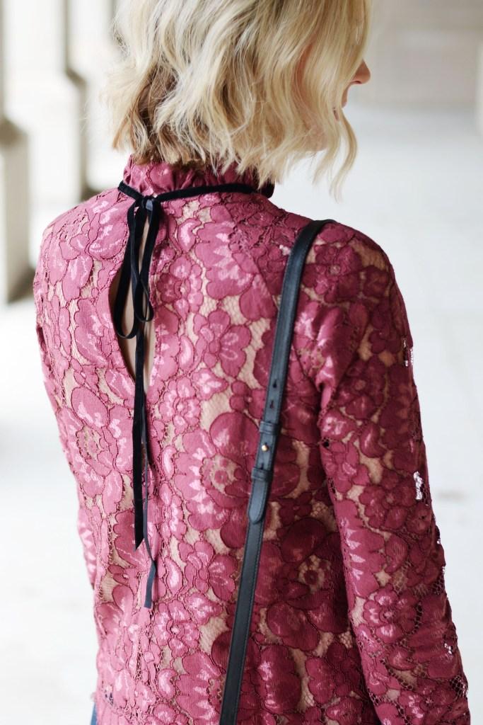 velvet tie back lace blouse, blonde wavy long bob