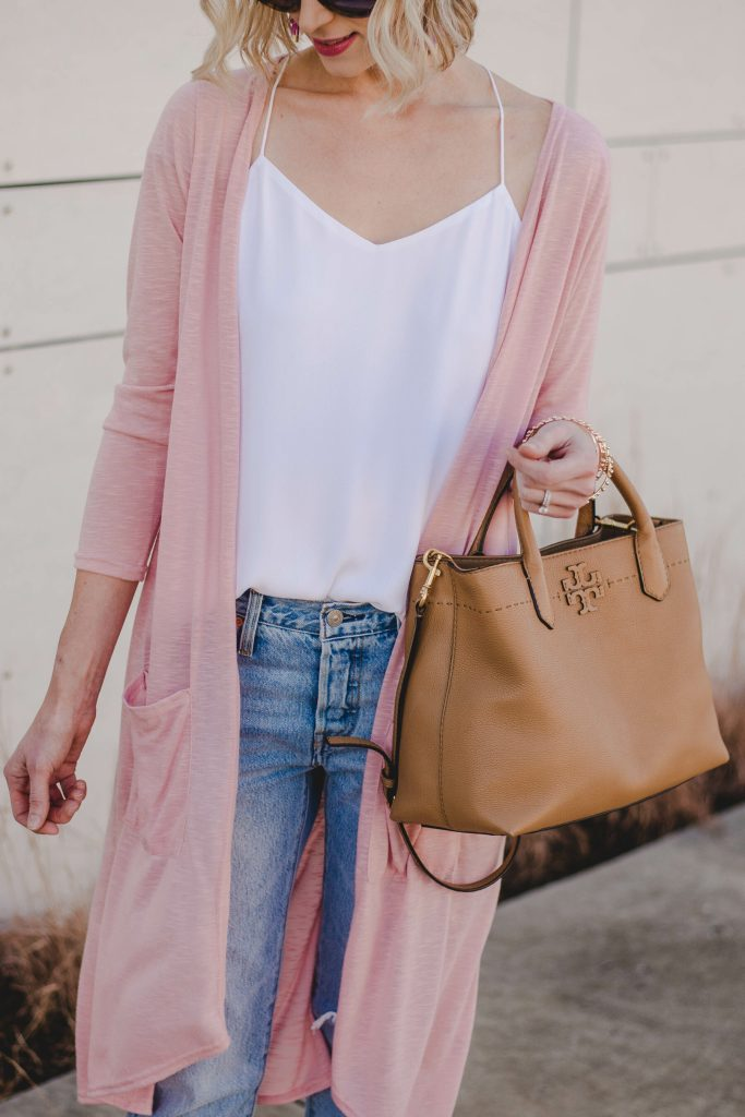pink duster with white cami