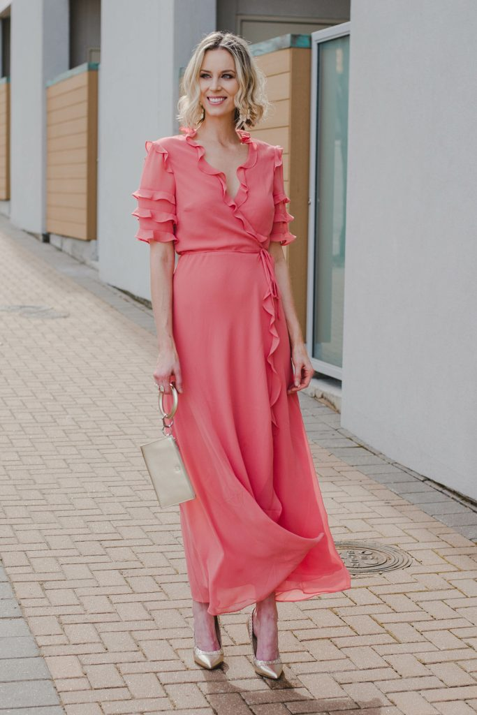 long wrap dress for spring, dressy dress