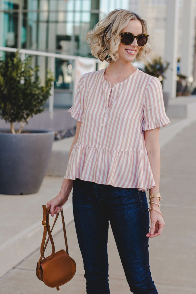 striped peplum top for spring