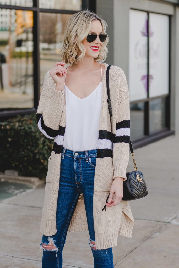 tan cardigan with black and white stripe, the best cardigan, white cami