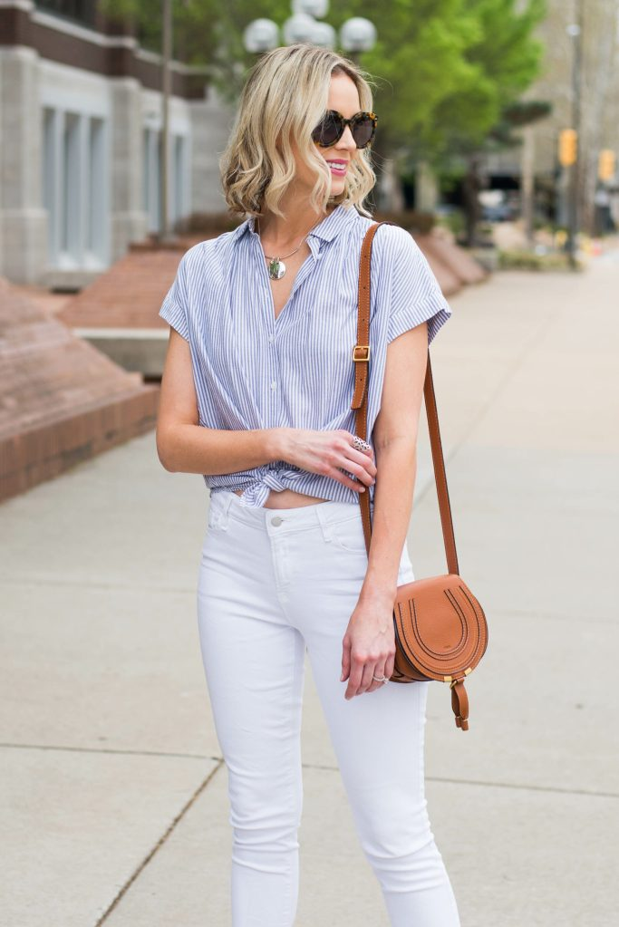 button front striped top with white jeans for spring