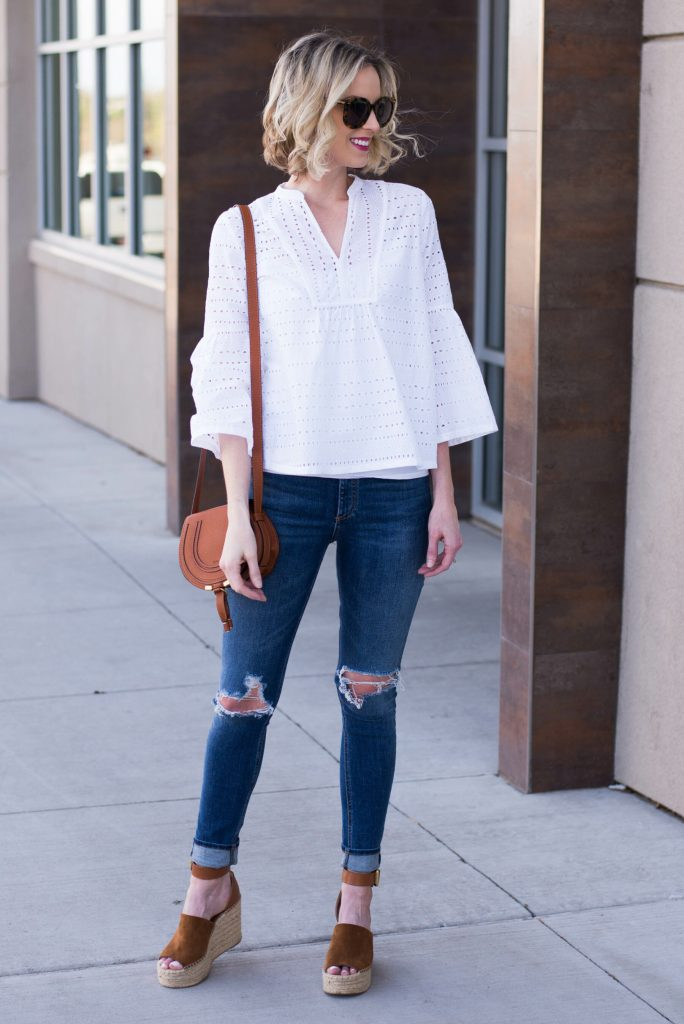 white eyelet top with jeans
