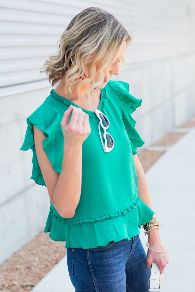 gorgeous green top with ruffle sleeves and hem