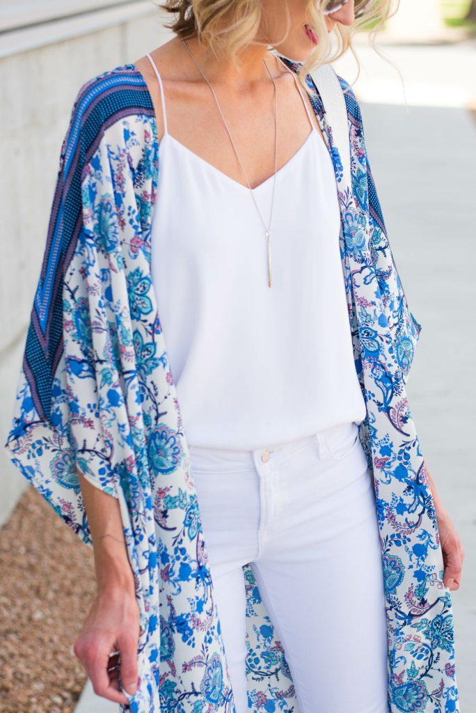 gorgeous blue and white print kimono