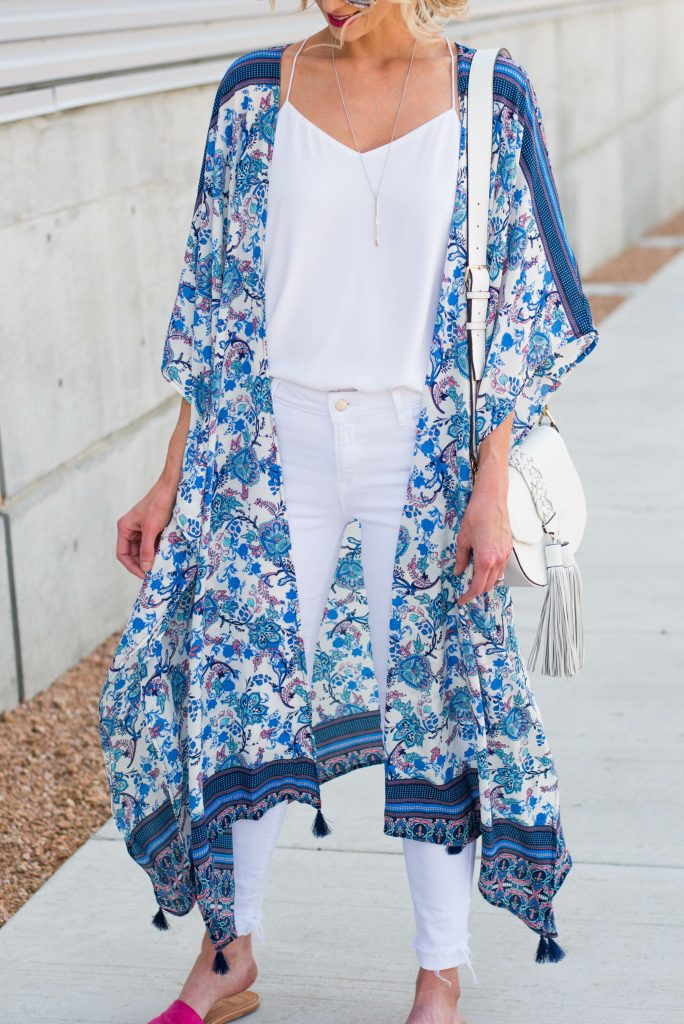blue and white duster kimono with tassels only $17