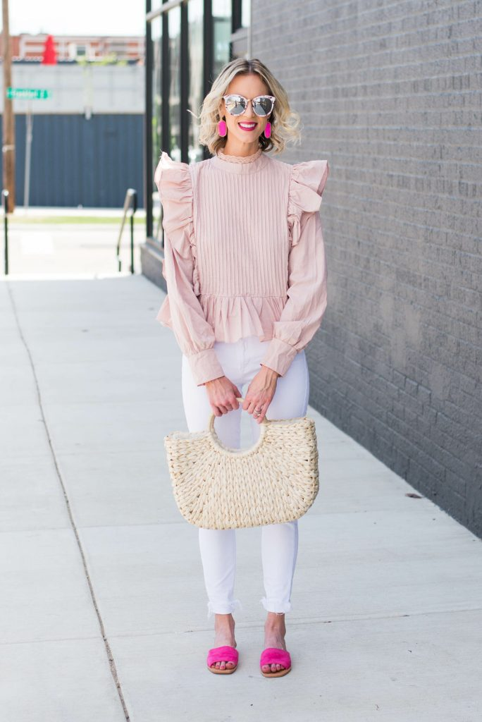 white and pink outfit for spring