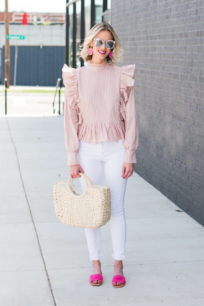 statement light pink top with bright pink accents