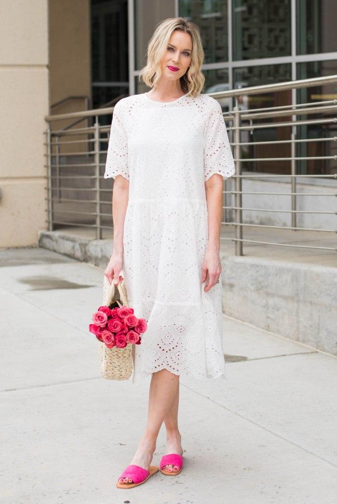 White Eyelet Midi Dress with Pink Slides for spring