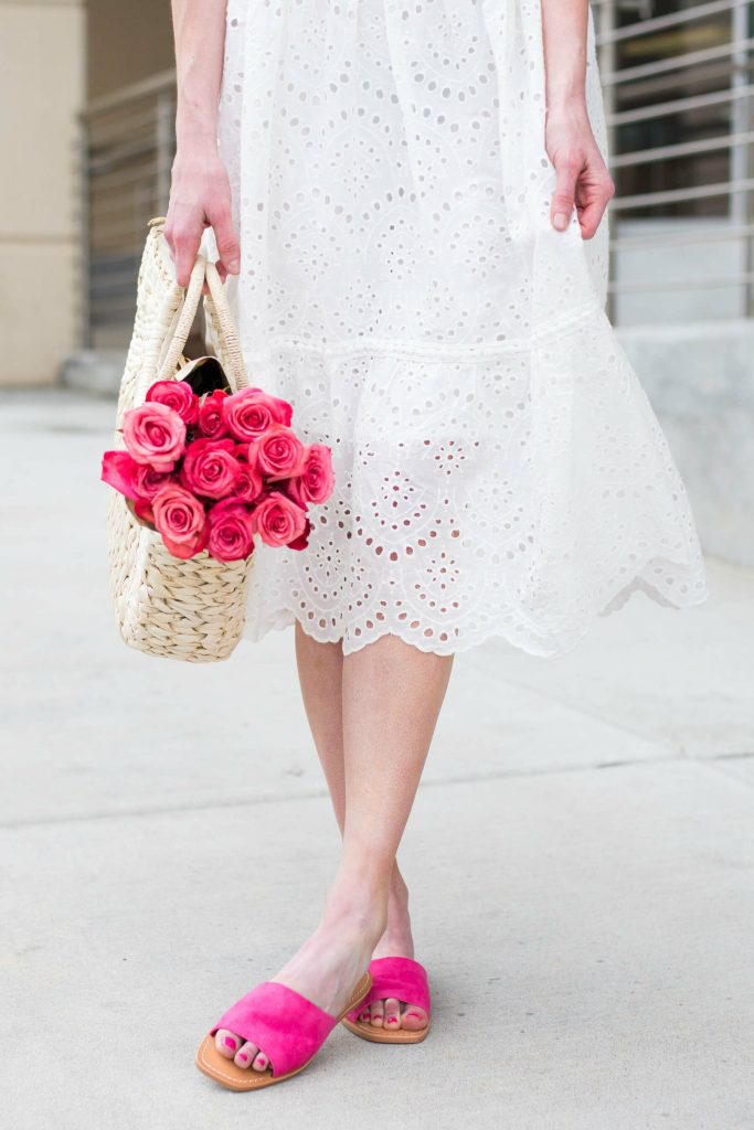 White Eyelet dress with pink shoes and roses