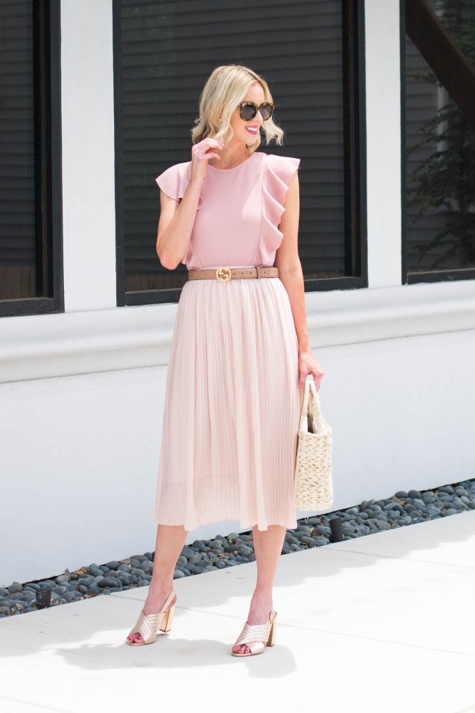 monochrome pink skirt and bodysuit