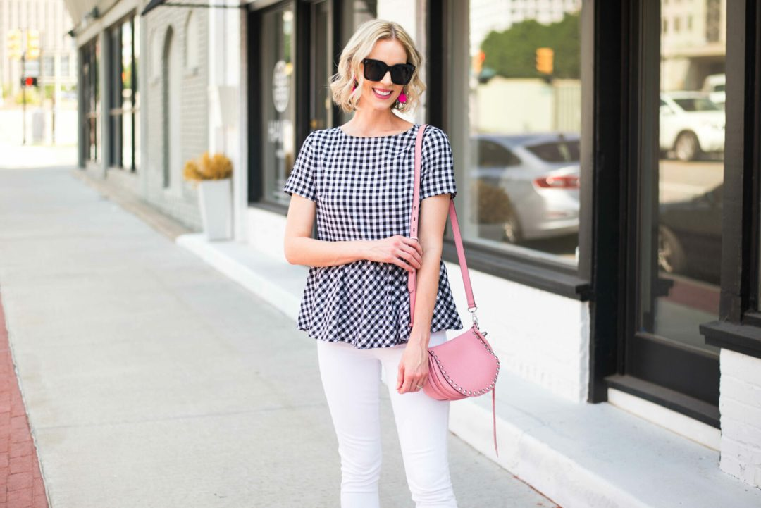 b780075e893f How cute is this tie back peplum top ( 14) ! I ve actually had it for a  while and previously worn it on the blog here with this exact same bag.